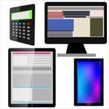 Mobile, Tablette, Monitor, Taschenrechner Stockfotografie
