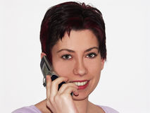 Mobile talk. Female talking on a mobile phone Stock Image
