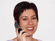 Mobile talk. Female talking on a mobile phone Stock Images