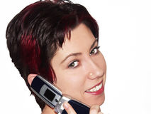 Mobile talk. Female talking on a mobile phone Royalty Free Stock Images