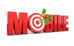 Mobile target. Red mobile text and dart hitting a target white background royalty free illustration