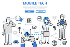 Mobile tech communication concept flat line art vector icons Stock Photography