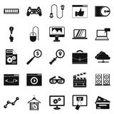 Mobile tech icons set, simple style. Mobile tech icons set. Simple set of 25 mobile tech vector icons for web isolated on white background Royalty Free Stock Photos