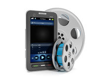 Mobile technology. 3d illustration: Mobile technology. Mobile cell phone and view vidio with reels of film Stock Image