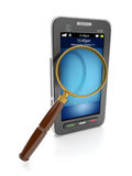 Mobile technology. 3d illustration: Mobile technology. Mobile phone and a magnifying glass to find the information Stock Images