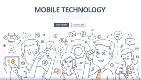 Mobile Technology Doodle Concept Stock Photos
