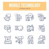 Mobile Technology Doodle Icons Stock Photography