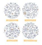Mobile Technology Doodle Illustrations stock illustration