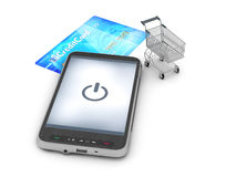 Mobile technology in shopping - abstract illustration Royalty Free Stock Photos