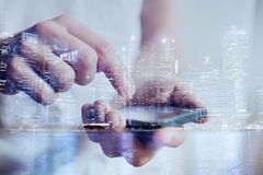 Mobile technology and smartphone application stock photography