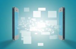 Mobile technology transfer. Data network stock photo