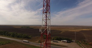Mobile telecom tower site stock footage