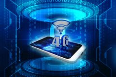 4g Internet Concept, Tablet with 4g sign in digital background. Mobile telecommunication cellular high speed data connection business concept: blue metallic 4G stock illustration