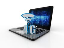 Mobile telecommunication cellular high speed data connection business concept: blue metallic 4G LTE wireless communication technol. Internet concept, 4g symbol Royalty Free Stock Photos