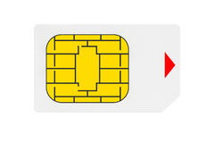 Mobile Telecommunication Concept. Macro View of Sim Card Royalty Free Stock Photo