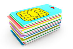 Mobile Telecommunication Concept. Macro View of Sim Cards around Royalty Free Stock Photos