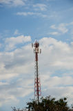 Mobile telecommunication post with blue sky. Stock Photos