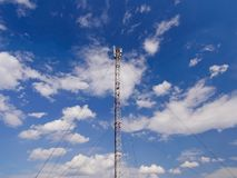 Mobile Telecommunication Tower With Blue Sky. Royalty Free Stock Photography