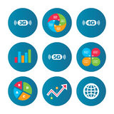 Mobile telecommunications icons. 3G, 4G and 5G. Business pie chart. Growth curve. Presentation buttons. Mobile telecommunications icons. 3G, 4G and 5G vector illustration