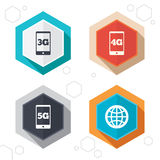 Mobile telecommunications icons. 3G, 4G and 5G. Hexagon buttons. Mobile telecommunications icons. 3G, 4G and 5G technology symbols. World globe sign. Labels with Stock Images