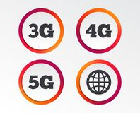 Mobile telecommunications icons. 3G, 4G and 5G. Mobile telecommunications icons. 3G, 4G and 5G technology symbols. World globe sign. Infographic design buttons Stock Photo