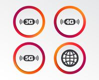 Mobile telecommunications icons. 3G, 4G and 5G. Mobile telecommunications icons. 3G, 4G and 5G technology symbols. World globe sign. Infographic design buttons Stock Photos