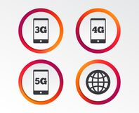 Mobile telecommunications icons. 3G, 4G and 5G. Mobile telecommunications icons. 3G, 4G and 5G technology symbols. World globe sign. Infographic design buttons Stock Photography