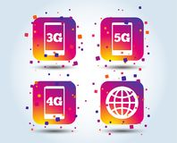 Mobile telecommunications icons. 3G, 4G and 5G. Mobile telecommunications icons. 3G, 4G and 5G technology symbols. World globe sign. Colour gradient square Royalty Free Stock Images