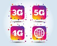 Mobile telecommunications icons. 3G, 4G and 5G. Mobile telecommunications icons. 3G, 4G and 5G technology symbols. World globe sign. Colour gradient square royalty free illustration
