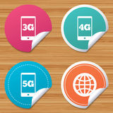 Mobile telecommunications icons. 3G, 4G and 5G. Stock Image