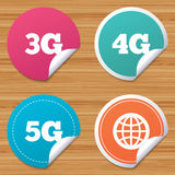 Mobile telecommunications icons. 3G, 4G and 5G. Round stickers or website banners. Mobile telecommunications icons. 3G, 4G and 5G technology symbols. World royalty free illustration