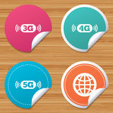 Mobile telecommunications icons. 3G, 4G and 5G. Round stickers or website banners. Mobile telecommunications icons. 3G, 4G and 5G technology symbols. World Royalty Free Stock Images