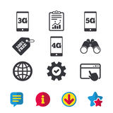 Mobile telecommunications icons. 3G, 4G and 5G. Mobile telecommunications icons. 3G, 4G and 5G technology symbols. World globe sign. Browser window, Report and vector illustration