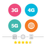 Mobile telecommunications icons. 3G, 4G and 5G. Mobile telecommunications icons. 3G, 4G and 5G technology symbols. World globe sign. Calendar, cogwheel and Royalty Free Stock Photos