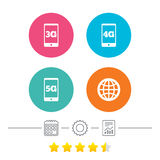 Mobile telecommunications icons. 3G, 4G and 5G. Stock Images