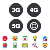Mobile telecommunications icons. 3G, 4G and 5G. Stock Photos