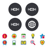 Mobile telecommunications icons. 3G, 4G and 5G. Mobile telecommunications icons. 3G, 4G and 5G technology symbols. World globe sign. Calendar, Information and stock illustration
