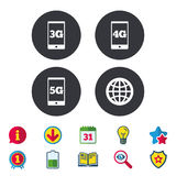 Mobile telecommunications icons. 3G, 4G and 5G. Mobile telecommunications icons. 3G, 4G and 5G technology symbols. World globe sign. Calendar, Information and royalty free illustration