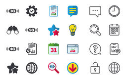 Mobile telecommunications icons. 3G, 4G and 5G. Mobile telecommunications icons. 3G, 4G and 5G technology symbols. World globe sign. Chat, Report and Calendar royalty free illustration