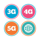 Mobile telecommunications icons. 3G, 4G and 5G. Mobile telecommunications icons. 3G, 4G and 5G technology symbols. World globe sign. Colored circle buttons royalty free illustration