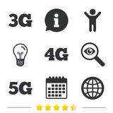 Mobile telecommunications icons. 3G, 4G and 5G. Mobile telecommunications icons. 3G, 4G and 5G technology symbols. World globe sign. Information, light bulb and vector illustration