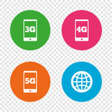 Mobile telecommunications icons. 3G, 4G and 5G. Mobile telecommunications icons. 3G, 4G and 5G technology symbols. World globe sign. Round buttons on Royalty Free Stock Image