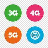 Mobile telecommunications icons. 3G, 4G and 5G. Mobile telecommunications icons. 3G, 4G and 5G technology symbols. World globe sign. Round buttons on Royalty Free Stock Photography