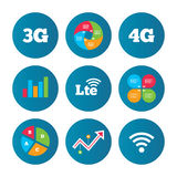 Mobile telecommunications icons. 3G, 4G and LTE. Business pie chart. Growth curve. Presentation buttons. Mobile telecommunications icons. 3G, 4G and LTE royalty free illustration