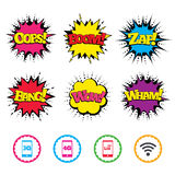 Mobile telecommunications icons. 3G, 4G and LTE. Comic Wow, Oops, Boom and Wham sound effects. Mobile telecommunications icons. 3G, 4G and LTE technology vector illustration