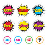 Mobile telecommunications icons. 3G, 4G and LTE. Comic Wow, Oops, Boom and Wham sound effects. Mobile telecommunications icons. 3G, 4G and LTE technology stock illustration