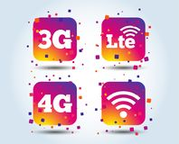 Mobile telecommunications icons. 3G, 4G and LTE. Mobile telecommunications icons. 3G, 4G and LTE technology symbols. Wi-fi Wireless and Long-Term evolution vector illustration