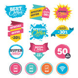 Mobile telecommunications icons. 3G, 4G and LTE. Sale banners, online web shopping. Mobile telecommunications icons. 3G, 4G and LTE technology symbols. Wi-fi vector illustration
