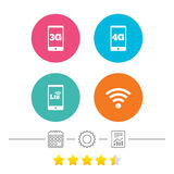 Mobile telecommunications icons. 3G, 4G and LTE. Royalty Free Stock Photos
