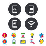 Mobile telecommunications icons. 3G, 4G and LTE. Stock Image